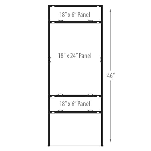 """H Frame Sign Holders - Vertical Double Rider - 18"""" x 24"""""""