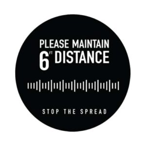 "Social Distancing Floor Graphic - 18"" x 18"" - Circle - Black - ""Please Maintain 6'"""