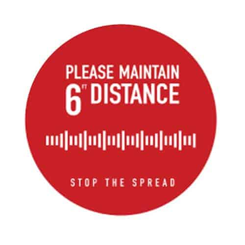 "Social Distancing Floor Graphic - 12"" x 12"" - Circle - Red - ""Please Maintain 6'"""