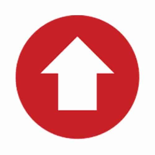 "Social Distancing Floor Graphic - 10"" x 10"" - Circle - Red - ""Arrow"""