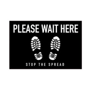 "Social Distancing Floor Graphic - 12"" x 18"" - Rectangle - Black - ""Please Wait Here"""